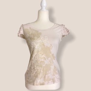Off white cream top Embroidered ruffle cap sleeve